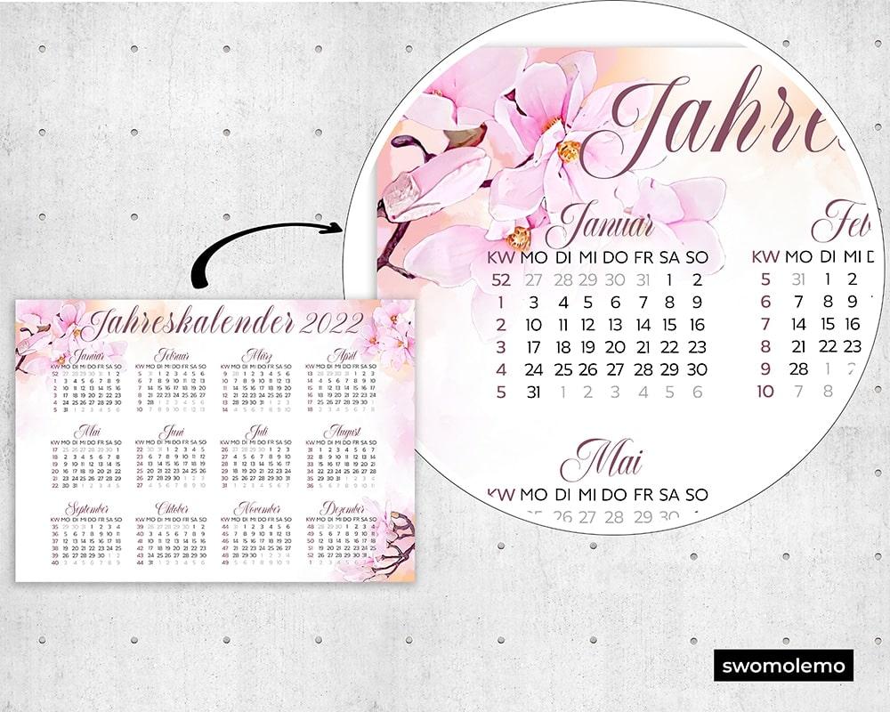 Kalender-2022-floral-Aquarell-Watercolor-Großformat-Qualität