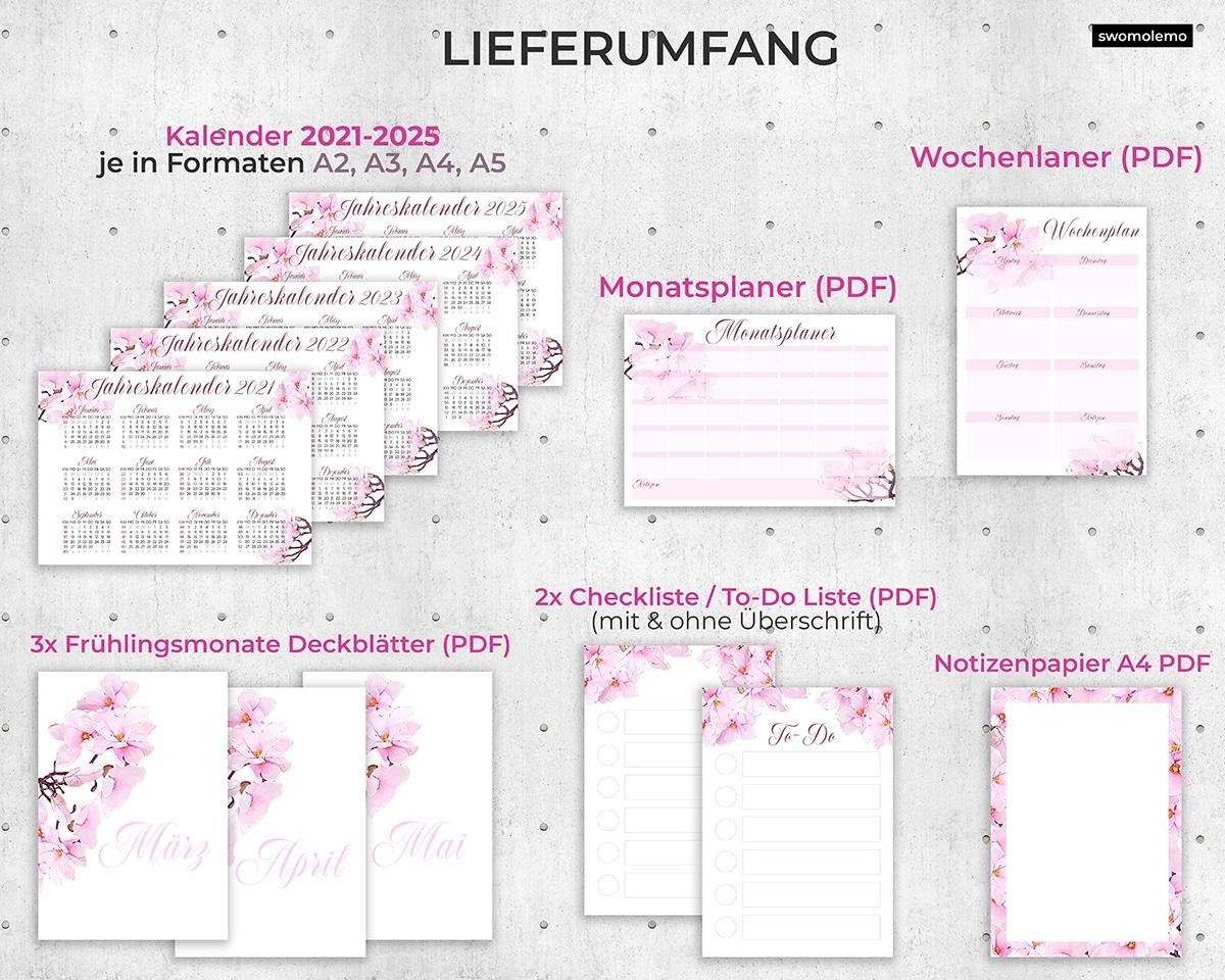 Organizer-Set-2021-2022-2023-2024-2025-Planer-Digital-Ausdrucken-Selbst-zusammenstellen-Pink
