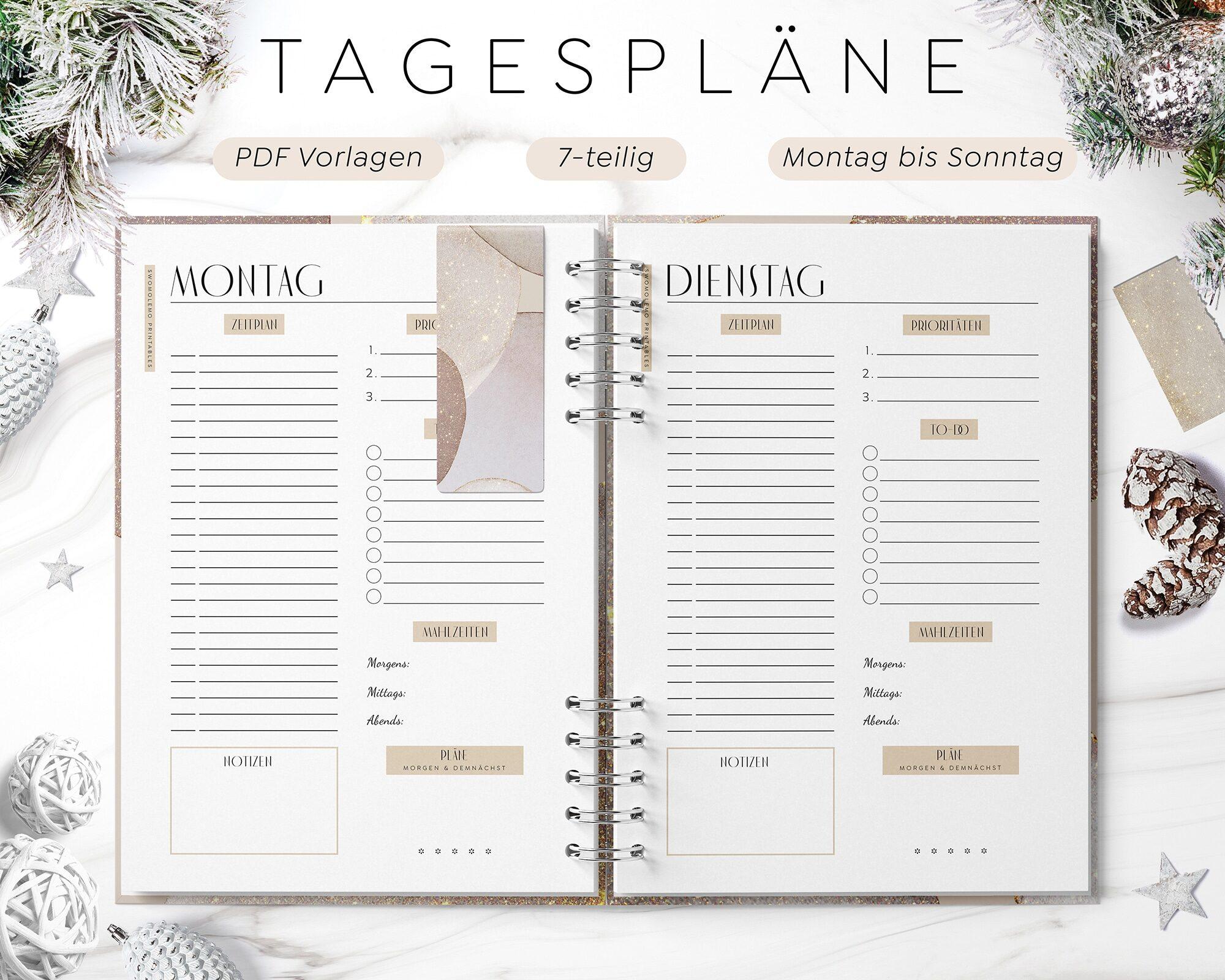 Tagesplan Digital Set zum Ausdrucken