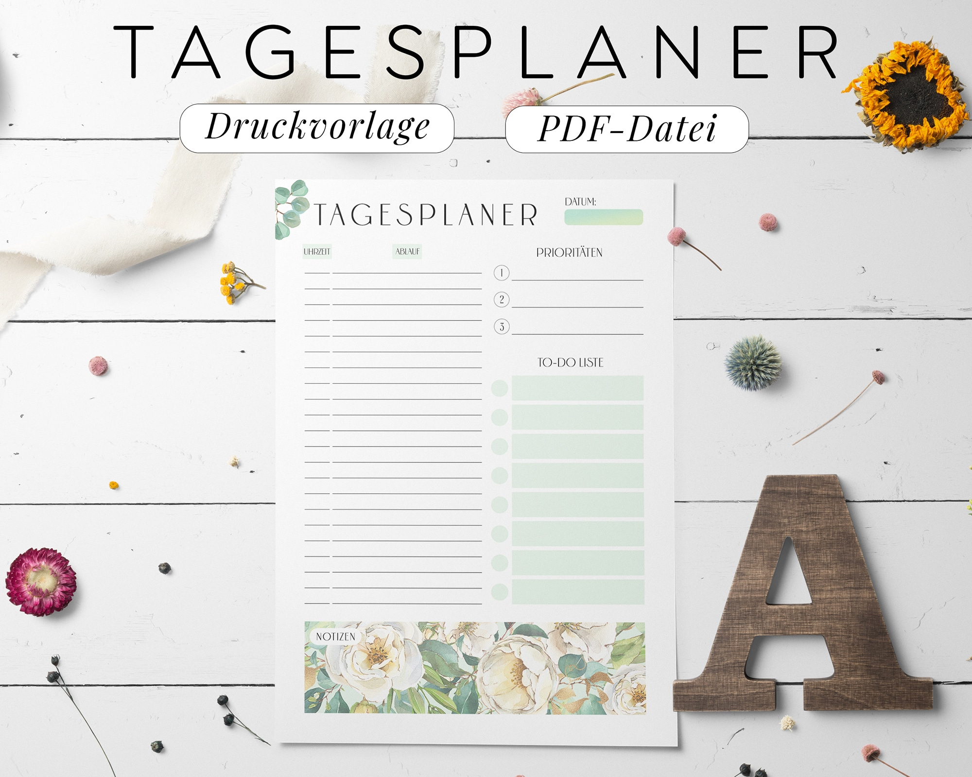 Tagesplaner Digitale Vorlage Download PDF