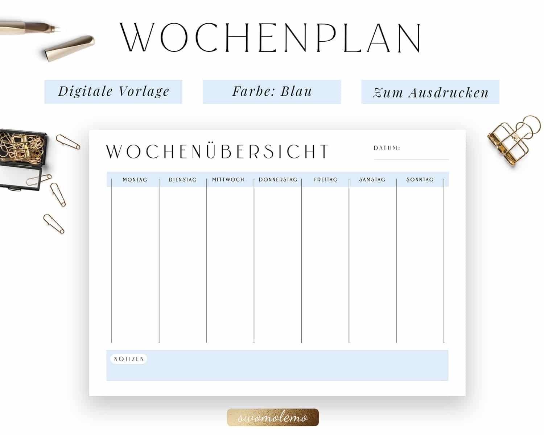 Wochenplanung PDF Blau