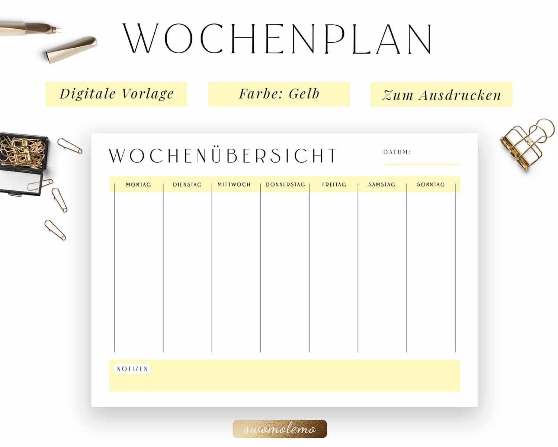 Wochenplanung PDF Gelb