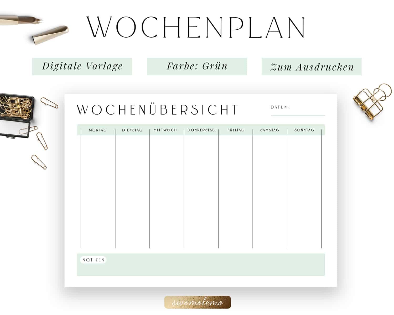 Wochenplanung PDF Grün