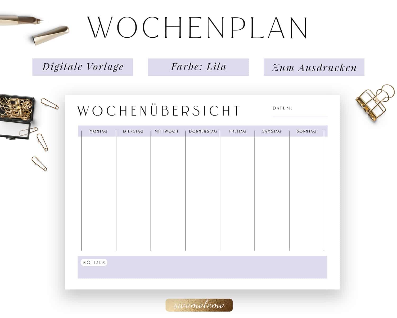 Wochenplanung PDF Lila